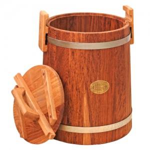Кадка дубовая 15 литров, обручи из оцинкованной стали