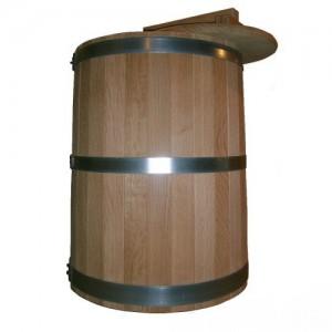 Кадка дубовая 50 литров, обручи из оцинкованной стали