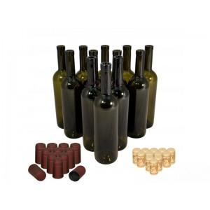 """Комплект винных бутылок """"Бордо"""" 0,75 л, 20 шт, с пробками и термоколпачками"""